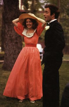 James Caan and Diane Keaton on the set of The Godfather (1972)