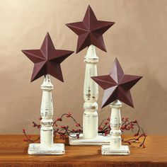 Stars on Spindles - OrientalTrading.com   These would make a great addition to rustic Christmas decor! I could probably even make these...