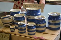 Traditional Cornish Ware style blue and white kitchen pots at Advintageous Spring Vintage Fair, Wakefield, Yorkshire, UK