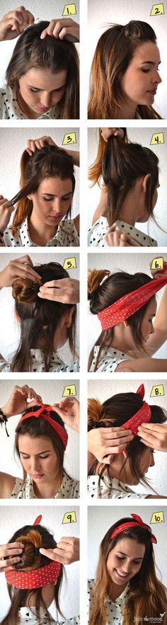 14 Tutorials for Bandana Hairstyles - Pretty Designs