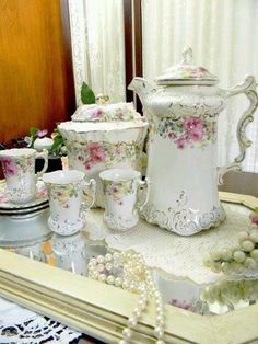 La Belle Antique Chocolate Pot - Biscuit Jar - 3 Demi Cups and Saucers - Made in USA - via Etsy. So cute for a tea party!