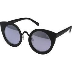 QUAY AUSTRALIA Tainted Love (Black/Lilac Mirror) Fashion Sunglasses ($37) ❤ liked on Polyvore featuring accessories, eyewear, sunglasses, black, cat sunglasses, round mirrored sunglasses, quay eyewear, cat-eye glasses and mirrored lens sunglasses