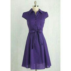 Purple Vintage Pinup Style Dress Worn once. Ties at waist. Very classy and pretty. ModCloth Dresses