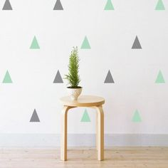 Set of 54 Pastel Grey & Mint Triangles Wall Decals