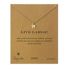 live large! lucky elephant necklace, gold dipped - Dogeared