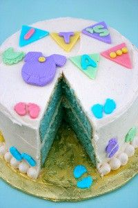 Baby Gender Surprise Cake  Uploading as an idea for my cousin. Pretty neat idea <3