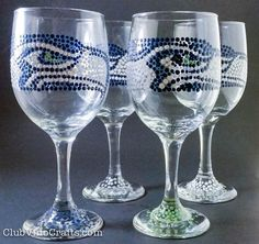 Custom Seattle Seahawks-Themed Wine Glasses.