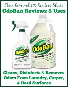 OdoBan Odor Eliminator and natural disinfectant -- used by many for removing stinky pet odors, as well as mold and mildew smells from clothing, other fibers such as carpet and upholstery, and even for hard surfaces. (Several reviews from reader, plus uses.)