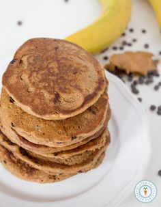 Peanut Butter Banana Oatmeal Chocolate Chip Pancakes