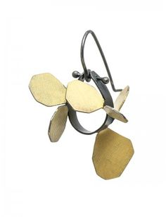 Wattle earrings Oxidized Silver, Contemporary Jewellery, Sculpting, Hand Painted, Yellow, Metal, Earrings, Jewelry, Organic
