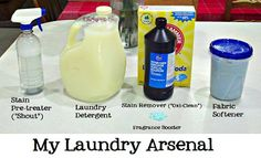 "Homemade Laundry Products Line-Up  Stain Pre-treater, Laundry Detergent, Stain Remover (""Oxi-Clean""), Fabric Softener and Fragrance Booster."
