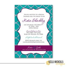 Turquoise & Purple Bridal Wedding Shower by KelliNichollsDesigns, $13.00
