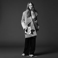 Shearling coat with flowers - Nos produits - Sandro-paris.com