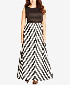 City Chic Plus Size Chevron-Print Satin Maxi Dress - Dresses - Plus Sizes…