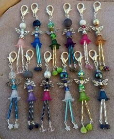 Beaded People with Wings Zipper Pulls