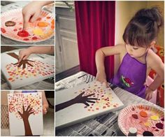 Are you looking for creative craft ideas to keep your kids entertained and have fun together?Here is one from Ashley. This DIY fingerprint tree painting is absolutely . Fun Crafts For Kids, Creative Crafts, Fall Crafts, Projects For Kids, Diy For Kids, Activities For Kids, Creative Ideas, Fall Projects, Diy Projects