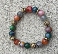 Multi-Color Agate Bracelet by MyOhmStyle on Etsy