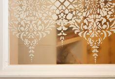 lace stenciled window in my door