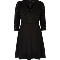 River Island Black luxury lace flared dress ($68) ❤ liked on Polyvore featuring dresses, black, skater dresses, women, flared dresses, lace cocktail dress, 3/4 sleeve dress, v neck lace dress and v-neck dresses