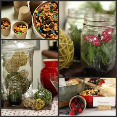 small mason jars or flower pots for (dollar store) for trail mix  woodland theme. love the idea of using garden pots for table decoration/food storage.