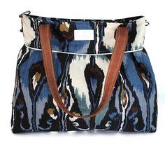 Navy Blue Ikat XLarge Diaper Bag by Precious Little Tot #plt #preciouslittletot #babygift #newmom #firsttimemom