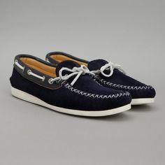 Quoddy / Canoe Shoe (Navy Suede / White Vibram Sole)