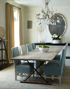 soft blue on chairs--easy to remove and clean    Carol Glasser Interiors, Houston
