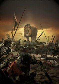 Лев на поле боя на Святой земле. В настоящее время этот крупный хищник исчез из стран Ближнего Востока.