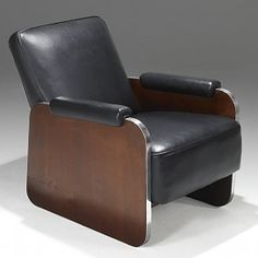 Leather, walnut and stainless steel lounge chair, Unmarked; Recliner, Armchair, Auction, Art Deco, Wood, Furniture, Design, Home Decor, Chair