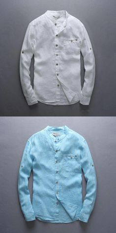 Italy style 100% linen shirt men long sleeve casual men shirt big size chest 124 flax brand shirts men fashion blue mens shirts #trendymensoutfits