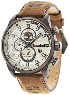 Timberland Men's Quartz Watch with Beige Dial Analogue Display and Dark Brown Leather Strap 14816JLBN/07--116.91