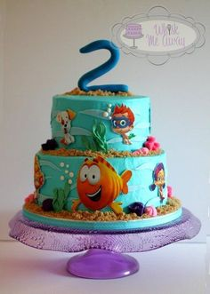 Bubble Guppies birthday cake for Ava. This is a buttercream cake with handcut/molded fondant accents. The characters are edible image hand cut on fondant backings. Thanks for looking :)