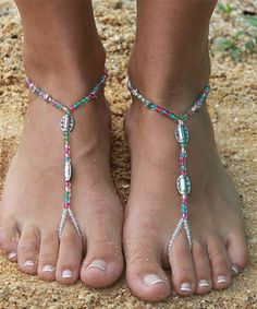 Look what I found on #zulily! Light Green & Peach Disco Barefoot Sandal #zulilyfinds