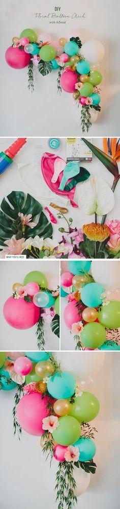 Moana Wedding Theme Decor Fantastical Weddings Decor fantasticalweddings.com DIY Floral Balloon Arch | Greenweddingshoes.com