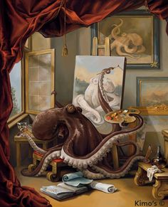 """Art Octopus"" by Kim C. http://io9.com/if-an-octopus-can-paint-this-well-why-isnt-he-making-8-1623157877"