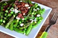 Spring English Peas, Asparagus, and Sugar Snap Pea Sauté Topped with Crispy Bacon and Crumbled Blue Cheese ~ strandedfoodie.com