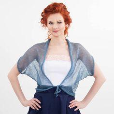 de346630 Linen jacket Blue Gray Bolero Linen shrug knit summer shrug top linen cover  up summer weddings boho cardigan linen tops women's bolero vest
