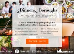 Enter to Win 5 Dinners 5 Boroughs