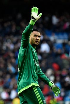 Real Madrid's Costa Rican goalkeeper Keylor Navas waves to his fans after the Spanish league football match Real Madrid CF vs Athletic Club Bilbao at...