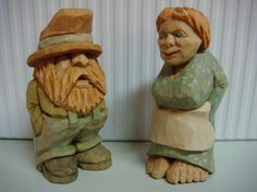"""Gus and Gracie, hand carved from 1"""" X 1"""" X 2.5"""" Basswood blocks. Carvings based on Harold Enlow's, Rufus and Sadie carvings."""