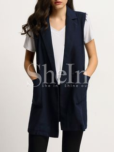 Shop Navy Pockets Trench Vest Coat online. SheIn offers Navy Pockets Trench Vest Coat & more to fit your fashionable needs.