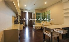 1 Bedroom Condo for Rent at Ivy Thonglor  -  Get information of this rental & other available condos or apartments for rent, go to http://bangkokcondofinder.com/bangkok-condos-for-rent/  This 1 Bedroom Condo for Rent at IVY Thonglor is small and modern with 44 square meters spread. The main area is compact starting with entryway kitchen equipped with cupboards, shelving, sink, glass stovetop, hood, refrigerator, baking oven, and a dining table set for two. A sofa and sto