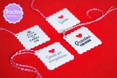 Etiquetas Cookies para agradecer, para emocionar en una boda. www.trocitosdeboda.com