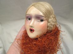 RARE-VINTAGE-COMPOSITION-BOUDOIR-SMOKING-LADY-DOLL-HEAD-WITH-HAIR