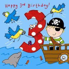 Happy Birthday - Third Birthday Wishes, Happy Third Birthday Birthday Wishes Greetings, Happy Birthday Boy, Happy Birthday Kids, Birthday Congratulations, Birthday Wishes For Friend, Birthday Cards For Boys, Pirate Birthday, Art Birthday, Happy Birthday Images