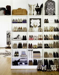 One of the most essential things at every home is a shoe storage. Here are some of the most creative and stylish shoe storage that can used at homes to safely store your shoes and make them look go… Closet Bedroom, Closet Space, Walk In Closet, Shoe Closet, Shoe Wardrobe, Closet Wall, Bedroom Wall, Bag Closet, Closet Office