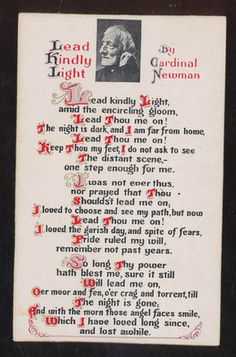 "Religious Postcard Cardinal John Henry Newman ""Lead Kindly Light"" Poem-bbb699"