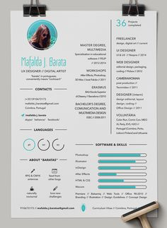 Beautiful creative colorful designer CV Resume by Mafalda J. Barata on Behance Love this resume ❤️ Free Cv Template Word, Cv Design Template, Resume Design Template, Resume Templates, Design Resume, Curriculum Template, Curriculum Vitae Resume, Curriculum Design, Graphic Design Cv