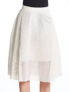 Perforated Faux Leather Midi Skirt