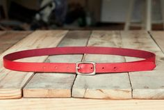 AmericanNative red leather belt, $32 (Made in Fayetteville, Arkansas) #madeinusa #madeinamerica
